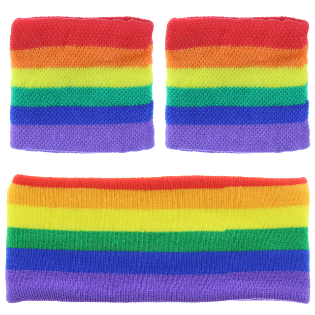 Rainbow Sweatbands & Headband Set