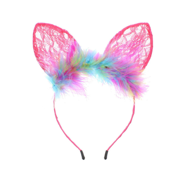 Lace Cat Ears Headband with Fur