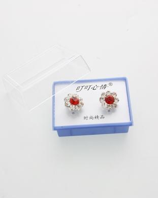 Stone Flower-Shape Earrings in Box