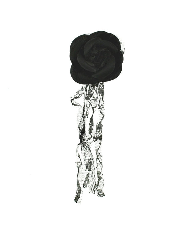 Roses with Lace on Brooch Pin