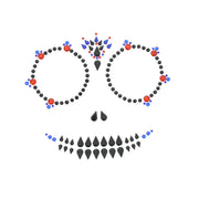 Day of the Dead Skeleton Jet Black with Red Ruby & Blue Sapphire Halloween Face Gems Set