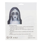 Evil Nun Jet Black Halloween Face Gems Set
