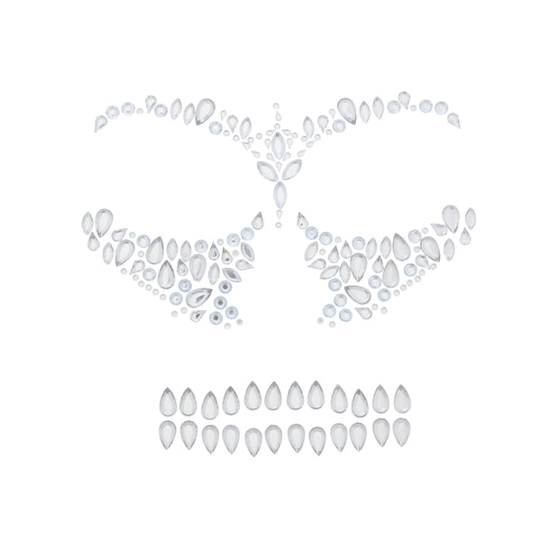 Scary Skeleton Clear Halloween Face Gems Set