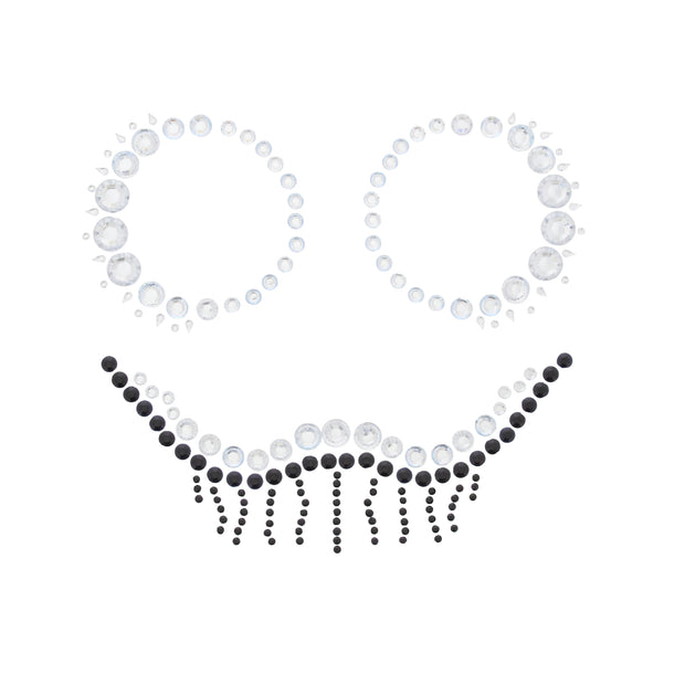 Scary Skeleton Clear & Jet Black Halloween Face Gems Set
