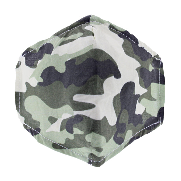 Green Camouflage Print Cotton Face Mask