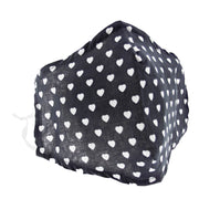 Black with White Hearts Print Cotton Face Mask