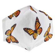 White with Butterfly Print Cotton Face Mask