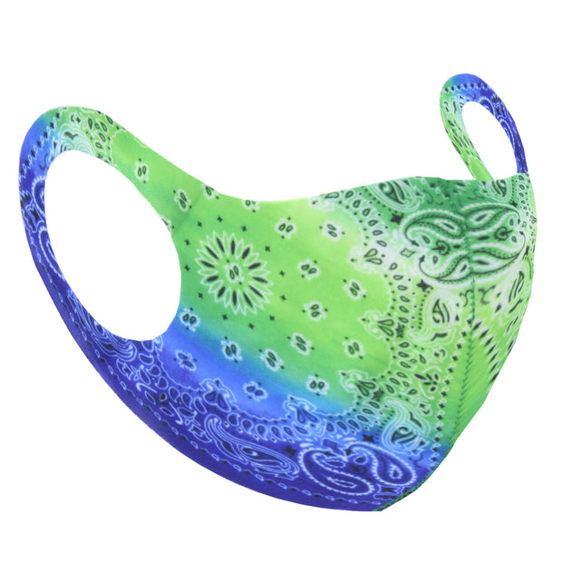 Green & Blue Retro Paisley Print Value Face Mask