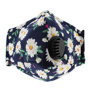 Navy Blue Sunflower Cotton Face Mask with Valve