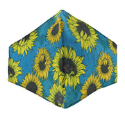 Dark Turquoise Sunflower Print Cotton Face Mask
