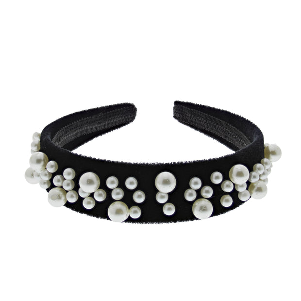 Black Velvet 3.6cm Padded Thick Aliceband with Assorted Size Pearls