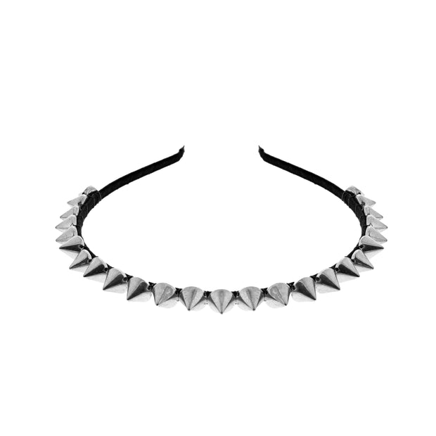 Black Thin Aliceband with Silver Spikes