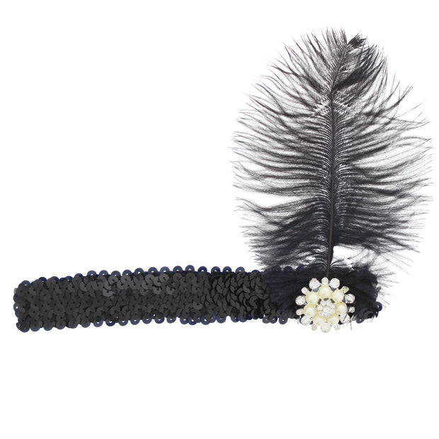Black Feather Fascinator on Sequin Headband