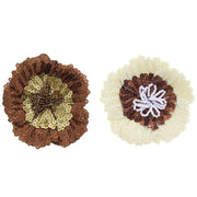 Assorted  Flat Sequin Flowers on Elastic & Brooch Pin
