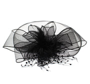 Black Fascinator On Concord Beak Clip Or Aliceband Diameter Approx. 38cm, Height Approx. 10cm