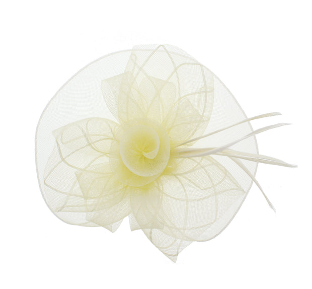 Cream Fascinator On Concord Beak Clip Or Aliceband Diameter Approx. 22cm, Height Approx. 12cm