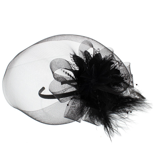 Black Fascinator On Concord Beak Clip Or Aliceband Diameter Approx. 20cm, Height Approx. 7cm