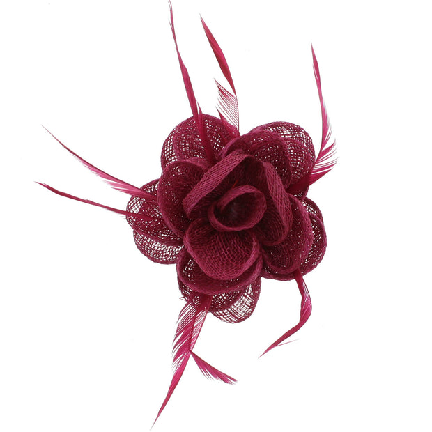 Fascinator On Concord Clip & Brooch Pin (Diameter 9cm, Height 4.5cm)