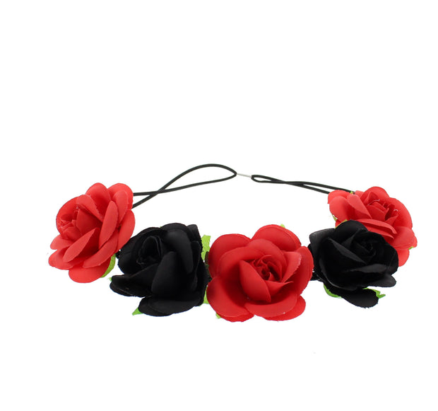 Alternative Rose Flower Elastic Headband