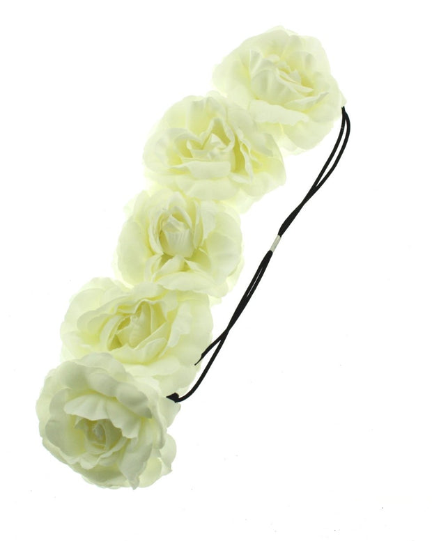 Large Rose Flower Elastic Headband