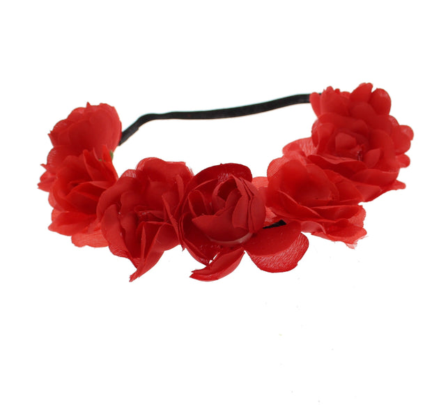 Large Alternating Roses on Black Braided Elasticated Hair Garland