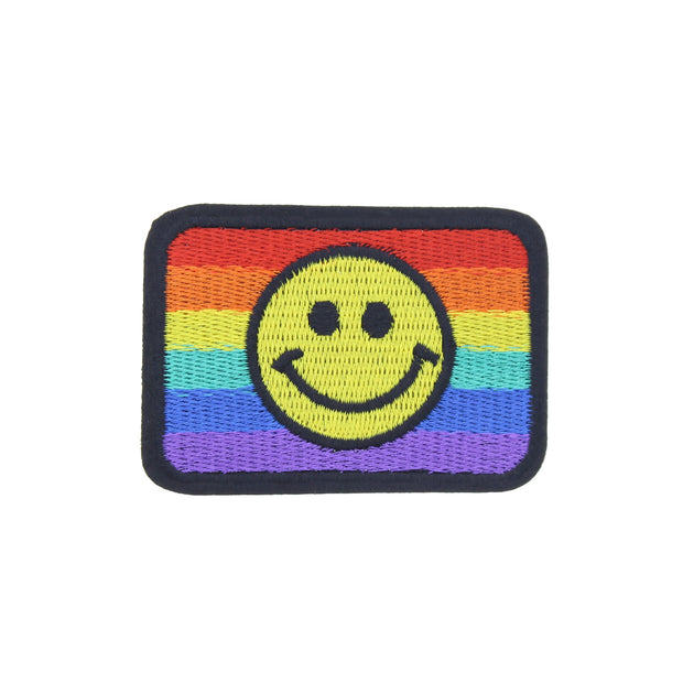 7.7 x 5.4cm Rainbow Flag Patch with Smiley Face