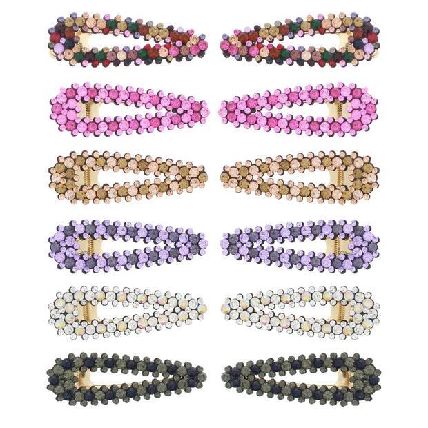 7.5cm Assorted Colour Stone Covered Hair Clips