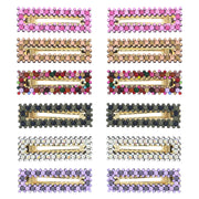 7.5cm Assorted Colour Stone Covered Rectangular Shaped Hair Clips