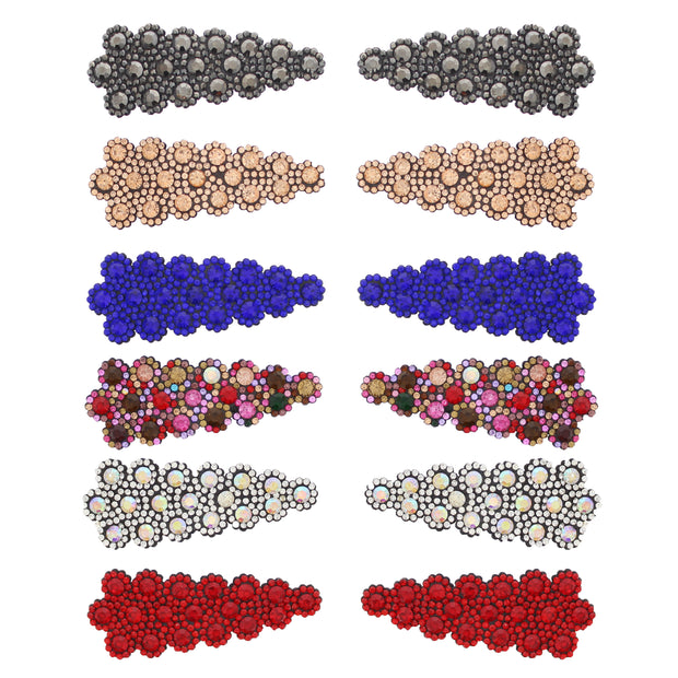 7.5cm Assorted Colour Stone Covered Rectangular Shaped Snapclips