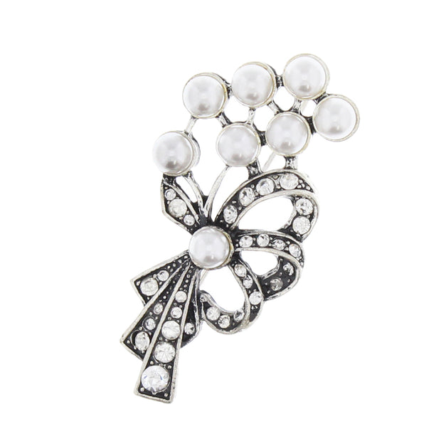 Bow Shaped Brooch with Clear Crystal Stones (5.5 x 2cm)