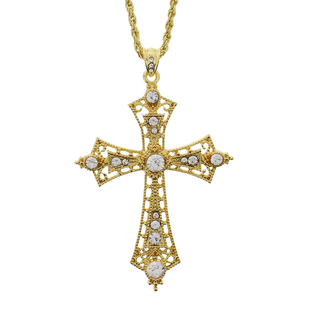 Gold Cross with Clear Gems on a 69cm Chain Necklace (7 x 11cm Pendant)
