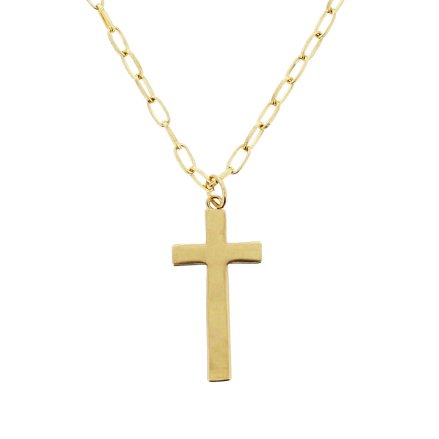 Gold Cross on 69cm Chain Necklace (2.3 x 5cm Pendant)