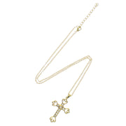 Gold Cross with Clear Gems on 69cm Chain Necklace (4 x 6.5cm Pendant)