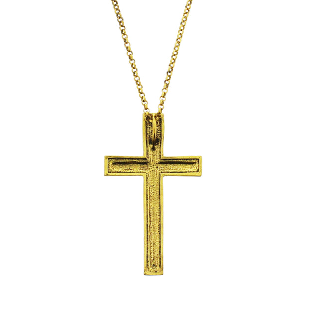 Gold Cross with Clear Gems on a 71cm Chain Necklace (4 x 7cm Pendant)
