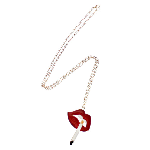 Lips With a Cigarette Necklace on a 68cm Gold Chain (6.5 x 5cm Pendant)