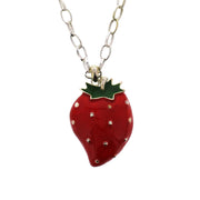 Strawberry Necklace on a 69cm Silver Chain (5 x 4cm Pendant)