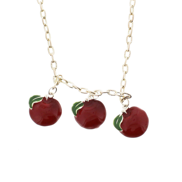 Triple Apple Necklace on a 46cm Silver Chain (2 x 2cm Pendant)