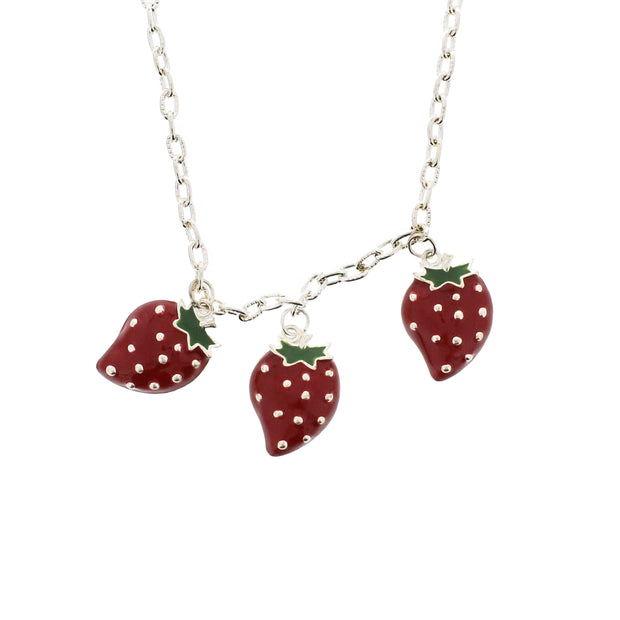 Triple Strawberry Necklace on a 48cm Silver Chain (3 x 2cm Pendant)