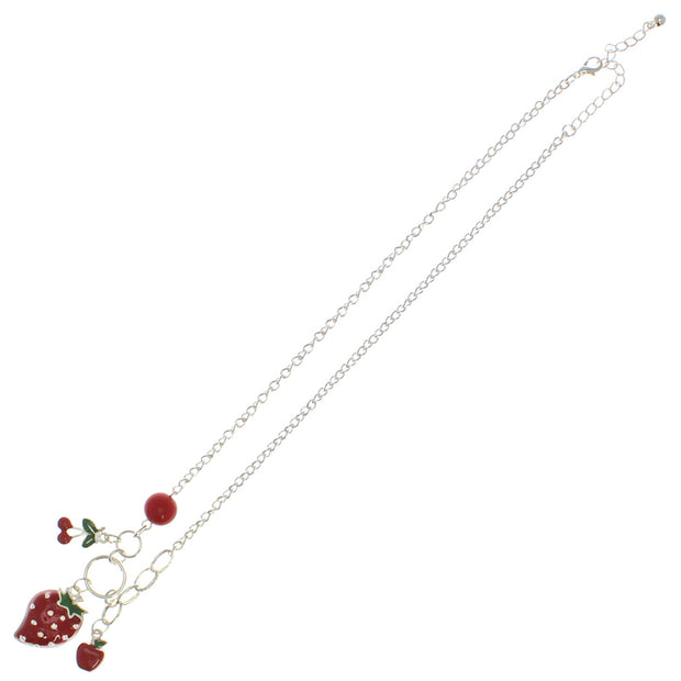 Strawberry, Apple and Cherry Necklace on a 49cm Silver Chain (1cm Small & 3 x 2cm Large Pendant)