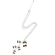 Multiple Cherries Necklace on a 46 cm Silver Chain (1 x 1.5cm Small &  2 x 3cm Large Pendant)