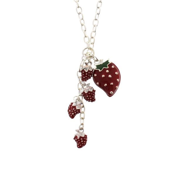 Multiple Strawberries Necklace on a 42cm Silver Chain (0.5 x 1 Small & 2 x 2.5cm Large Pendant)