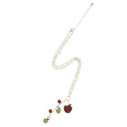 Multiple Red and Green Apples Necklace on a 42cm Silver Chain (1 x 1.5cm Small & 1.5 x 2cm Large Pendant)