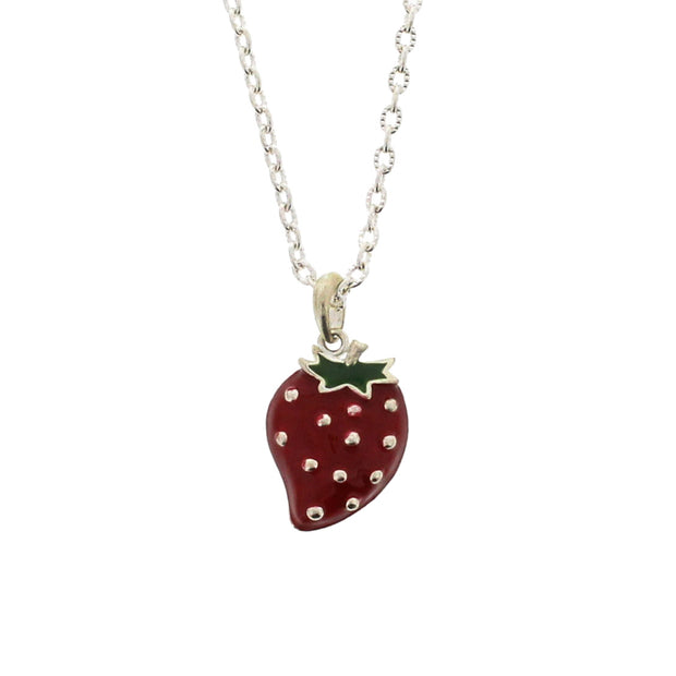 Strawberry Necklace on a 49cm Silver Chain (2 x 2.5cm Pendant)