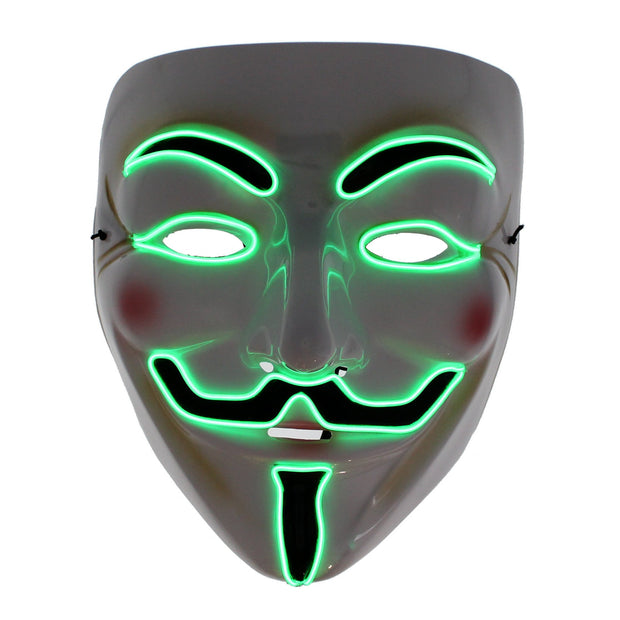 Light Up Halloween/ Anonymous/ Guy Fawkes Mask (3 Options - Fully Lit, Slow Flash & Rapid Flash)