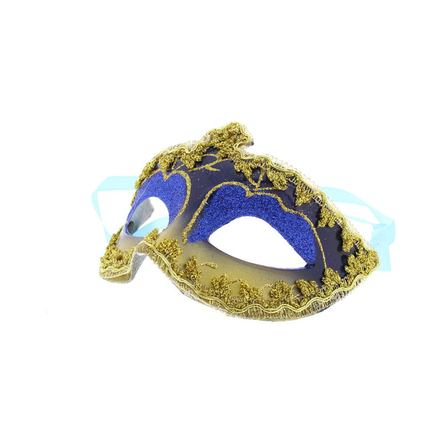 Glitter Plastic Eye Mask with Gold or Silver Trim