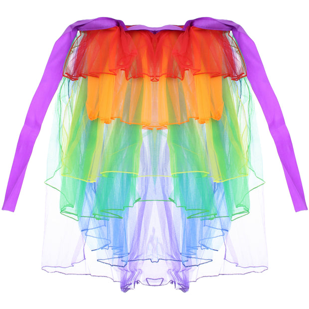 Ladies 6 Layer Rainbow Half Tutu Skirt