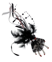 Large Silver Glitter Skeleton Hand Fascinator on Clip with Feathers, Ribbon, Lace & Hanging Pearl Beads