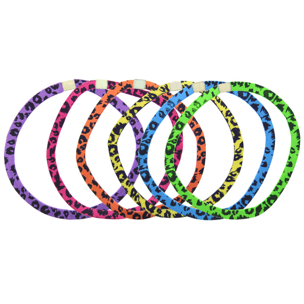 6 on a Card Multi Colour Animal Print Head Elastics