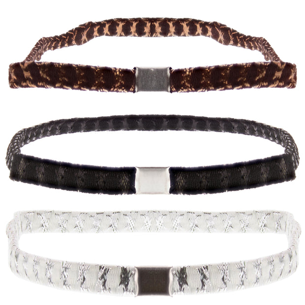 3 on a Card Black/Brown/White Lurex Head Elastics