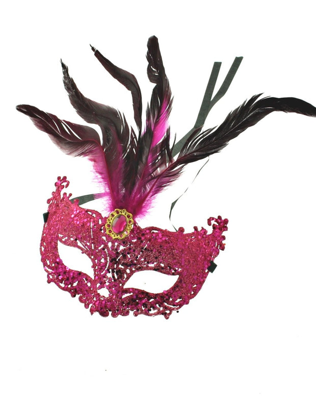 Sequin & Glitter Mask with Feathers